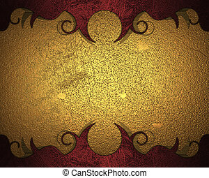 Gold background with red patterns. Design template