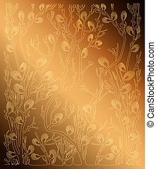 gold background with spring branches - vector pattern