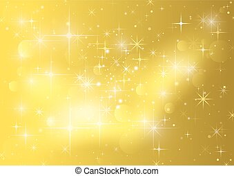 Gold Background With Stars - Holiday Sparklers Pattern, Vector Illustration