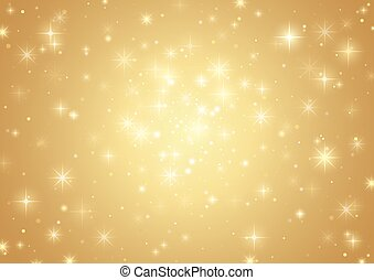 Gold Background With Stars - Holiday Pattern, Vector Illustration
