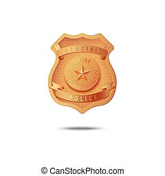 Gold badge of special police - vector illustration on a white background.