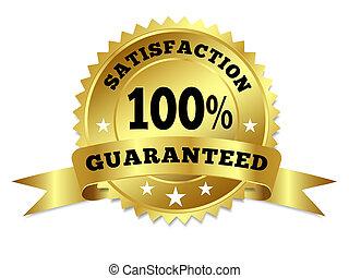 Gold Badge Satisfaction Guaranteed With Ribbon - Vector gold...