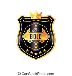 Gold badge with black text vector isolated