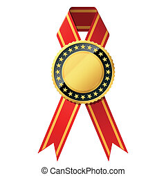 Gold badge with red ribbon - Detailed vector illustration of...