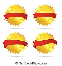 gold badge with red ribbon vector empty