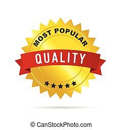 gold badge with red ribbon vector quality