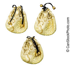 gold bag on white background