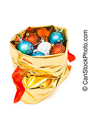 gold bag with Christmas balls