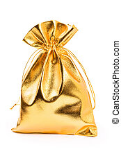 Gold bag with gifts