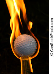 Gold Ball on Fire - Concept of success, Hole in One by golf...