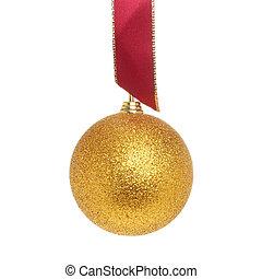 Gold ball red ribbon