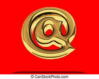 """Gold Balloon """"at"""" symbol. 3D"""