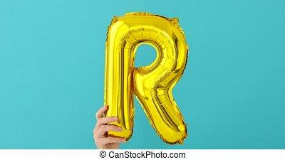 gold, balloon, folie, r, brief, feier
