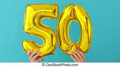 gold, balloon, zahl, 50, folie, feier