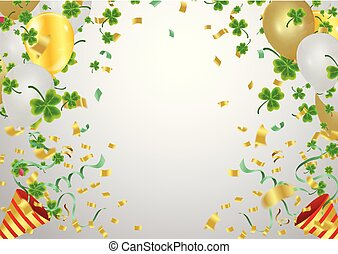Gold balloons and confetti party background and golden beads on white background. Space for text. St.Patrick's day holiday symbol.