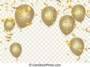 Gold balloons and confetti party banner with and serpentine