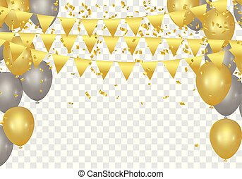 Gold balloons, confetti and streamers on white background....