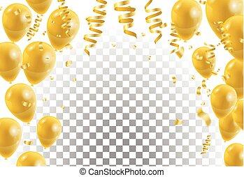 Gold balloons, white background. Vector illustration.