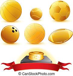 Gold Balls - Gold Sport Balls with pedestal