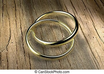 gold band, simple, linked