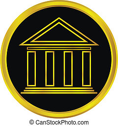 Gold bank button - Gold bank sign button on white background...