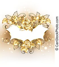 gold, banner, mit, gold, rosen