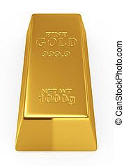 Gold bar - 3d render of gold bar isolated on white ...