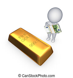 Gold bar and 3d small person with stack of euro.