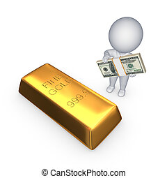 Gold bar and 3d small person with stack of dollars.