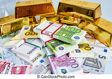 gold bar concept. Finance background with money. Euro Money....