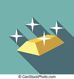 Gold bar icon, flat style