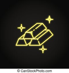Gold bar icon in neon line style