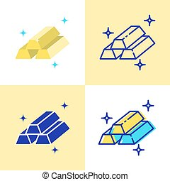 Gold bar icon set in flat and line style