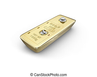Gold bar in the form of a safe, isolated on white background. 3d Illustration