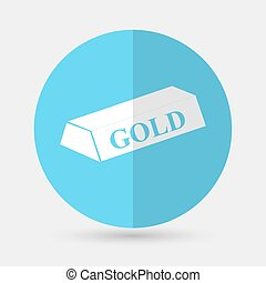 gold bar isolated on blue background