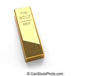 Gold bar Isolated on the White Background