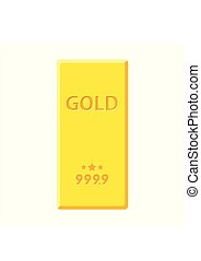 Gold bar isolated on white background. Golden bullion view from above. Vector illustration