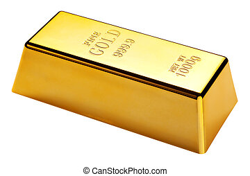 Gold bar isolated with clipping path - Photo of a 1kg gold...