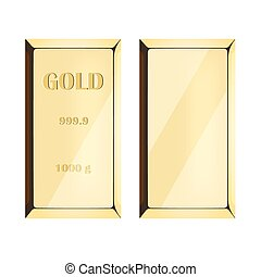 Gold bar on white background,
