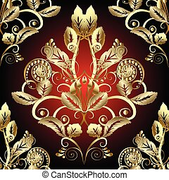 Gold Baroque 3d seamless pattern.