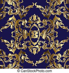 Gold Baroque seamless pattern.