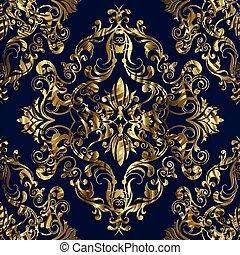 Gold Baroque seamless pattern.