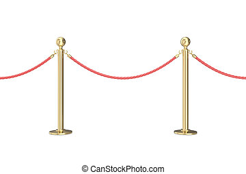 Gold barrier with red rope. 3d illustration isolated on white
