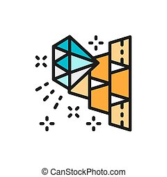 Gold bars and diamond, wealth flat color line icon.