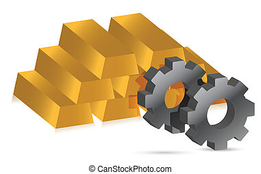 gold bars and gears illustration