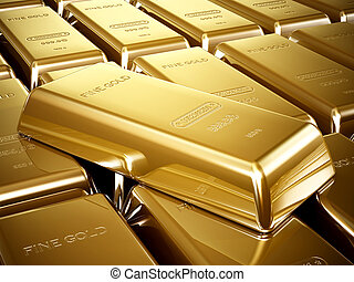 Gold bars arrangement - Gold bars in a stack