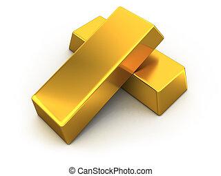 Gold Bars - Gold bars on white background