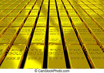 Gold Bars - A lot of Gold Bars on the floor. 3D render...