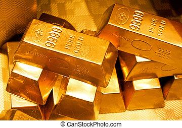 Gold bars - Close up shot of pure gold bars