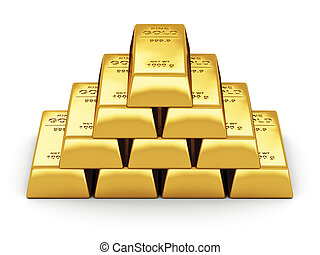 Gold bars - Business financial banking concept: set of gold...